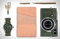Tanner Goods Brass Pen ($65). River City Leather Wallet ($65). Screwdriver Mini ($15). Leica M-P 240 Camera ($10,000). Shinola Filson Mackinaw Watch ($600)....