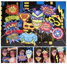 superhero and villains photo booth props perfect for a superman, spiderman, batman, captain America, Wonder Woman and other superhero party Batman Birthday, Batman Party, Superhero Birthday Party, Boy Birthday, Birthday Ideas, Birthday Parties, Superhero Photo Booth, Photo Booth Props, Green Superhero