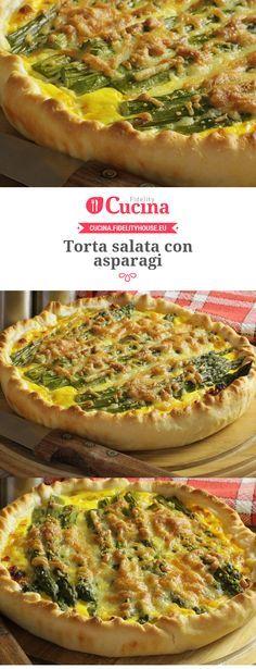 Torta salata con #asparagi Raw Food Recipes, Italian Recipes, Cooking Recipes, Crostata Recipe, Cioppino Recipe, Salad Cake, Strudel, Traditional Italian Dishes, Pizzeria