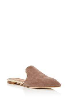 This **Malone Souliers** slide is rendered in suede and features a pointed toe…