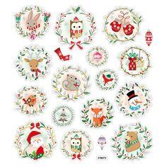 Christmas Animals Stickers • Christmas Owl • Christmas Wreath • Christmas Packaging • Gift Wrap • Holidays • Stocking Stuffers (SK1509)