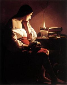 Georges de La Tour - Magdalen with the Smoking Flame   I recall making a decoupage of this print as a child. God, what dark taste, even then...