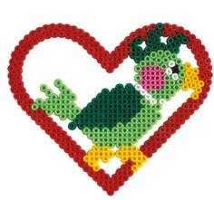 Papagei  (Herz) - Hama Perlen