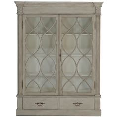Large French-farmhouse style china cabinet. Features plenty of storage space behind large glass doors with a metal overlay. Measures 66 inches by 18 inches and stands 86 inches tall.  Materials Wood with Glass doors  Finish Vintage Smoke