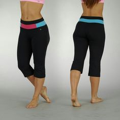 Bally Total Fitness Tummy Control Capri Black/Pink/Aqua Size Small $55 Value