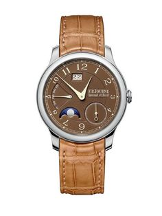"The F.P. Journe Octa Automatique Lune features a brand-exclusive ""Havana""-colored dial and caramel-colored leather strap for the cigar aficionado set.  More @ http://www.watchtime.com/wristwatch-industry-news/watches/f-p-journe-octa-automatiques-sport-new-havana-dials/ #FPJourne #watchtime #luxurywatch"