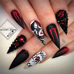 The best Halloween nail designs in 2018 - beautiful nails - . - The best Halloween nail designs in 2018 – beautiful nails – - Holloween Nails, Cute Halloween Nails, Halloween Acrylic Nails, Halloween Nail Designs, Cute Acrylic Nails, Scary Halloween, Creepy Clown, Halloween 2019, Gorgeous Nails