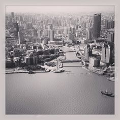 Shanghai from The Pearl Shanghai, New York Skyline, Landscapes, Pearl, Black And White, Travel, Paisajes, Scenery, Viajes
