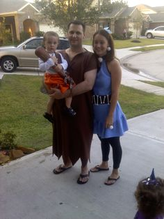 Betty, Barney and Bam Bam Rubble Halloween Costumes