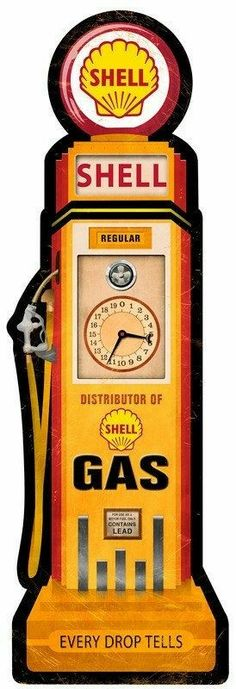 Shell Gas Pump Replica Sign 27 x 9 USA Made Powder Coated Steel Vintage Style Retro Gas Oil Garage Art Wall Decor by HomeDecorGarageArt on Etsy Car Signs, Garage Signs, Garage Art, Old Gas Pumps, Vintage Gas Pumps, Vintage Advertisements, Vintage Ads, Vintage Posters, American Pickers