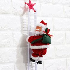Lovely Music Christmas Santa Claus Electric Climb Ladder Hanging Decoration Christmas Tree Ornaments Funny New Year Kids Gifts Best Christmas Gifts, Christmas Presents, Christmas Tree Ornaments, Christmas Fun, Music Ornaments, Christmas Stockings, Decoration Christmas, Holiday Decor, New Years Decorations