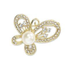 Gold Rhinestone Pearl Animal Pin Brooch