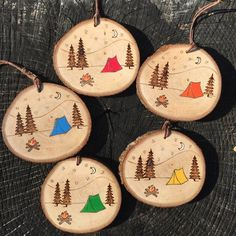 Items similar to Camp scene ornament. Wood slice ornament with wood burned campfire, tent, trees, mountains and moon. Camping ornament by Forage Workshop. on Etsy Christmas Wood, Christmas Crafts, Christmas Decorations, Christmas Ornaments, Holiday Decor, Camping Decorations, Beach Christmas, Family Holiday, Wood Ornaments
