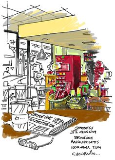 Starbucks JFK Crossing, Brookline, Massachusetts,  (cafe sketch by Michael Cucurullo)