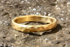 Hammered solid Gold ring, 14k yellow gold Textured wedding band, womens gold wedding ring ,rustic men band, hammered white gold band