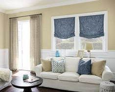 "Relaxed Roman Fabric Shades - 16407, Single Pleat Drapery - 16674, Madrid Medium Rod Set - 15895, 22"" Tailored Square Pillow - 16275, 22"" Tailored Square Pillow - 16388, 16"" X 26"" Lumbar Pillow - 16380"