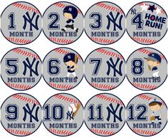 Baseball Logo & Players Milestone Stickers Team choice and also available in pink!