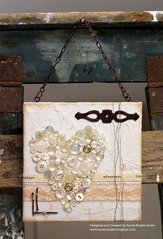 cream and white buttons . like the blue board behind too. Frame Crafts, Fun Crafts, Arts And Crafts, Craft Frames, Altered Canvas, Altered Art, Diy Buttons, Vintage Buttons, Button Art