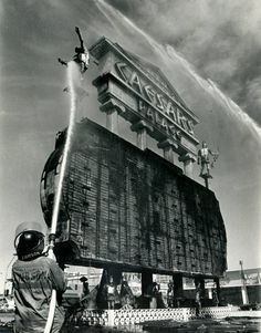 Clark County firefighters extinguish the last flickers of flame that engulfed the Caesars Palace marquee, March 27, 1980. The blaze erupted shortly after 12:30p.m. and caused $200,000 worth of damage. The 70-foot fluorescent sign was ignited by an electrical short as workmen were changing the headliner from Paul Anka to Tom Jones. Jones was the headliner two years earlier, when another small fire engulfed the sign.