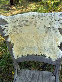 Antique Filet Crochet Horse