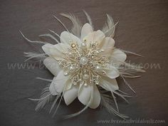 Bridal Flower Wild Rose with Pearl and by brendasbridalveils, $48.95