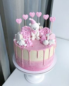 Chocolate Cake Birthday Girl Baby Shower New Ideas Baby Birthday Cakes, Baby Cakes, Cupcake Cakes, Birthday Kids, Pretty Cakes, Cute Cakes, Bolo Da Peppa Pig, Torta Baby Shower, Baby Shower Cake For Girls