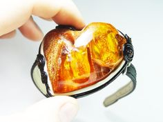 Bracelet Heart of Baltic true baltic rough amber leather vintage handmade by CarvingStudio on Etsy