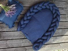 Braided crib bumper and baby nest in navy