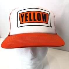 953e35fd7f3 Sports Teams Hats Visors Caps · Vintage Yellow Freight Trucker Mesh Snap  Back Hat Cap Orange White  YELLOW  Trucker Vintage