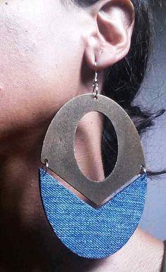 Denim Earrings Oval Wood Cut out Jean Earrings by maidendenim