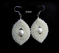 Beadwoven white pearl seed bead earrings Bridal by Szikati on Etsy
