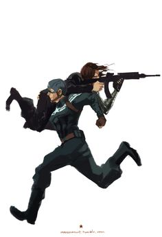 "Captain America and the Winter Soldier have a special Combo Attack. ""Dammit Steve, hold still."""