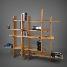 #CNC cut bookcase, snaps together without glue or fixings-by Tom Maher and Eamon Peregrine