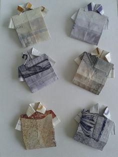 50 og 100 kr. sedler foldet som t-shirts/skjorter... nemme at lave og mere spændende end en flad pengeseddel :-)