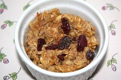 Baked Oatmeal (two peas & their pod). Good way to use some extra apple sauce and dried cranberries.