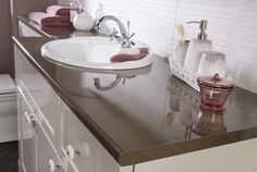 Fitted washbasin unit with an earthly worktop from Utopia Bathrooms. Furniture, Wash Basin, Bathroom Furniture, Countertops, Furniture Decor, Home Decor, Bathroom, Laminate Worktop, Bathroom Decor