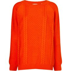 Chinti and Parker Orange Merino Wool Aran Jumper ($200) ❤ liked on Polyvore featuring tops, sweaters, multi, red crew neck sweater, red heart sweater, red jumper, crew sweater and print sweater