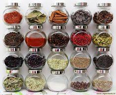 Ароматы, по порядку: шафран, лавровый лист, корица, шоколад, бадьян, гвоздика, паприка, кофе, розовый перец, кардамон, барбарис, можжевеловые ягоды, орегано, зира, черный чай, мята, эвкалипт, ваниль, душистый перец и шалфей.