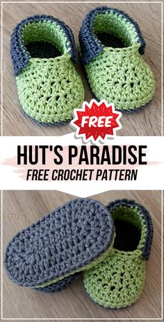 crochet Hut\'s Paradise free pattern - easy crochet baby-booties pattern for beginners Crochet Booties Pattern, Boy Crochet Patterns, Baby Booties Free Pattern, Crochet Baby Sandals, Crochet Baby Boots, Baby Shoes Pattern, Crochet Toddler, Crochet For Boys, Easy Crochet