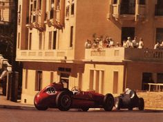 1958, XVI Grand Prix Automobile de Monaco. Monaco. At this Grand Prix some important facts:  Last victory to Maurice Trintignant  First pole position to Tony Brooks  Last podium to Luigi Musso  First Grand Prix to Graham Hill and First Grand Prix to Lotus.  At the photo Mike Hawthorn drive the Ferari D246 following Stirling Moss in the Vanwall VW5