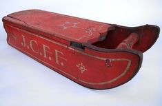 19th Century Antique American Sled Original Paint Decoration Possible Soap Hollow Attribution