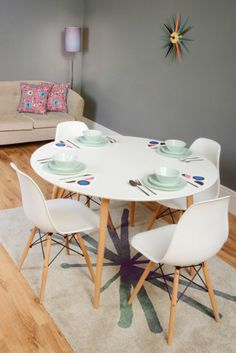 Tretton Retro Round White Dining Table And 4x Eames Style White Wooden Chairs