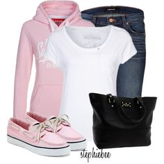 Pink Sperrys by stephiebees on Polyvore