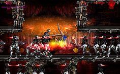 Slavest for the Darkest scifi retro game style ultra action fighting platformer.SATI fighting against hordes of femdroids, using her gymnastic skills