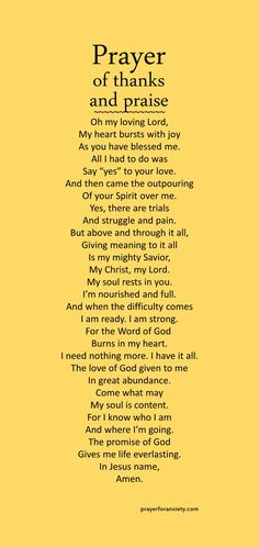 Prayer of thanks and praise – Prayer For Anxiety Prayer Of Praise, Faith Prayer, God Prayer, Praise The Lords, Prayer For Wisdom, Praise And Worship, Prayer Scriptures, Bible Prayers, Prayer Quotes