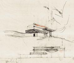 Alvar Aalto's Villa Mairea sketch. Principles of Design in use: Proportion, Dominance, Contrast
