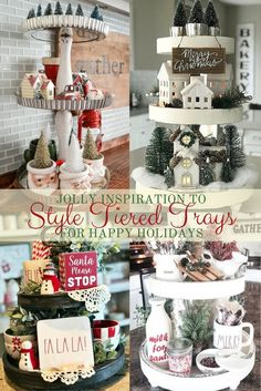 Styling tiered trays to help your home say happy holidays is what we have in store for you today. We have a fun little surprise in this round up. Mini Christmas trees, peppermint sticks, Rae Dunn mugs, Santa, cocoa centers, greenery and Christmas ornaments are just a few things you can use to style your tiered tray.