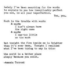 Because you exist. Typewriter poem by Amanda Torroni Amanda Torroni http://amandatorroni.com/ https://www.facebook.com/pag…/Amanda-Torroni/550935674983217