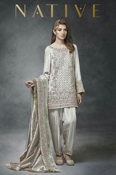 Shalwar Kameez for Nikkah Engagement Bride Salwar Kameez 2017 Walima Dress, Pakistani Formal Dresses, Shadi Dresses, Pakistani Fashion Casual, Pakistani Wedding Outfits, Pakistani Dress Design, Bridal Outfits, Indian Dresses, Pakistani Designer Clothes
