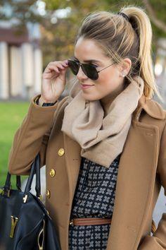 Camel coat + navy | gal meets glam